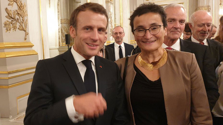 Professor Virginia Dignum in a meeting with French President Emmanuel Macron.